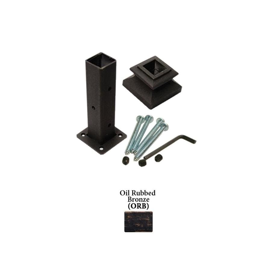 House of Forgings Square Oil Rubbed Bronze Wrought Iron Newel Post Installation Kit