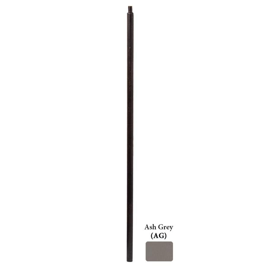 House of Forgings Round Series 1.19-in x 48-in Ash Grey Painted Wrought Iron Stair Newel Post