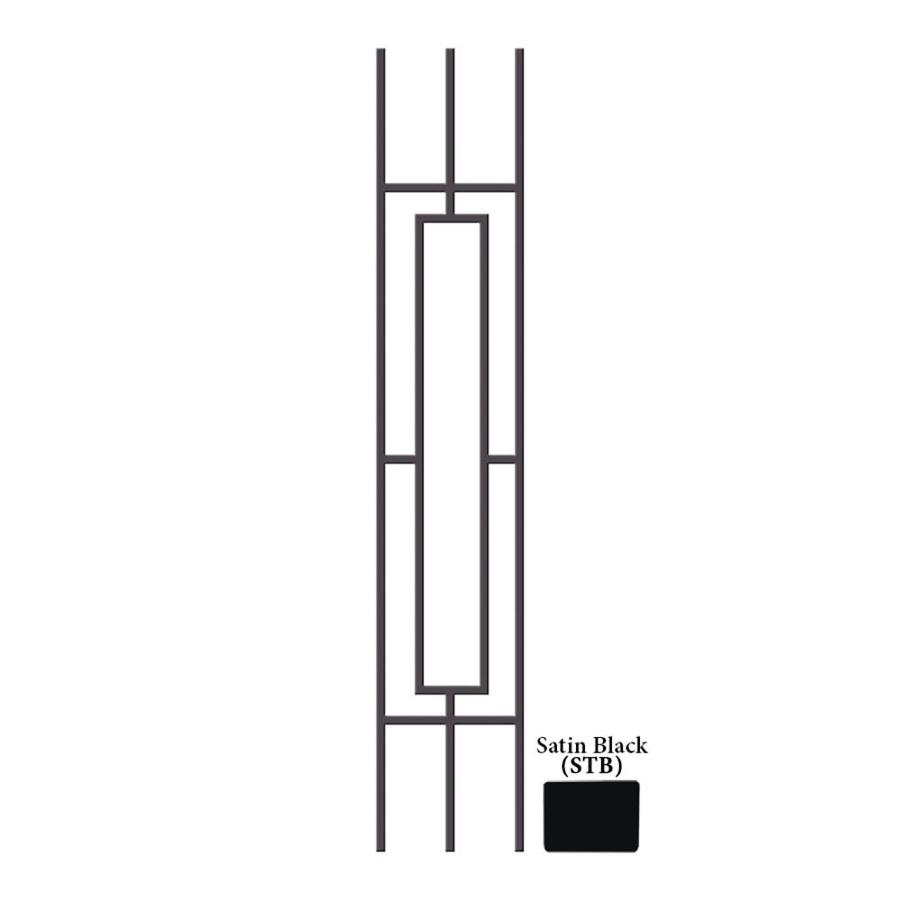 House of Forgings Hollow 46-in Satin Black Wrought Iron Classic Tubular Stair Baluster