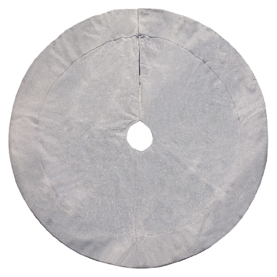 Holiday Living 48-in Silver Cotton Traditional Christmas Tree Skirt