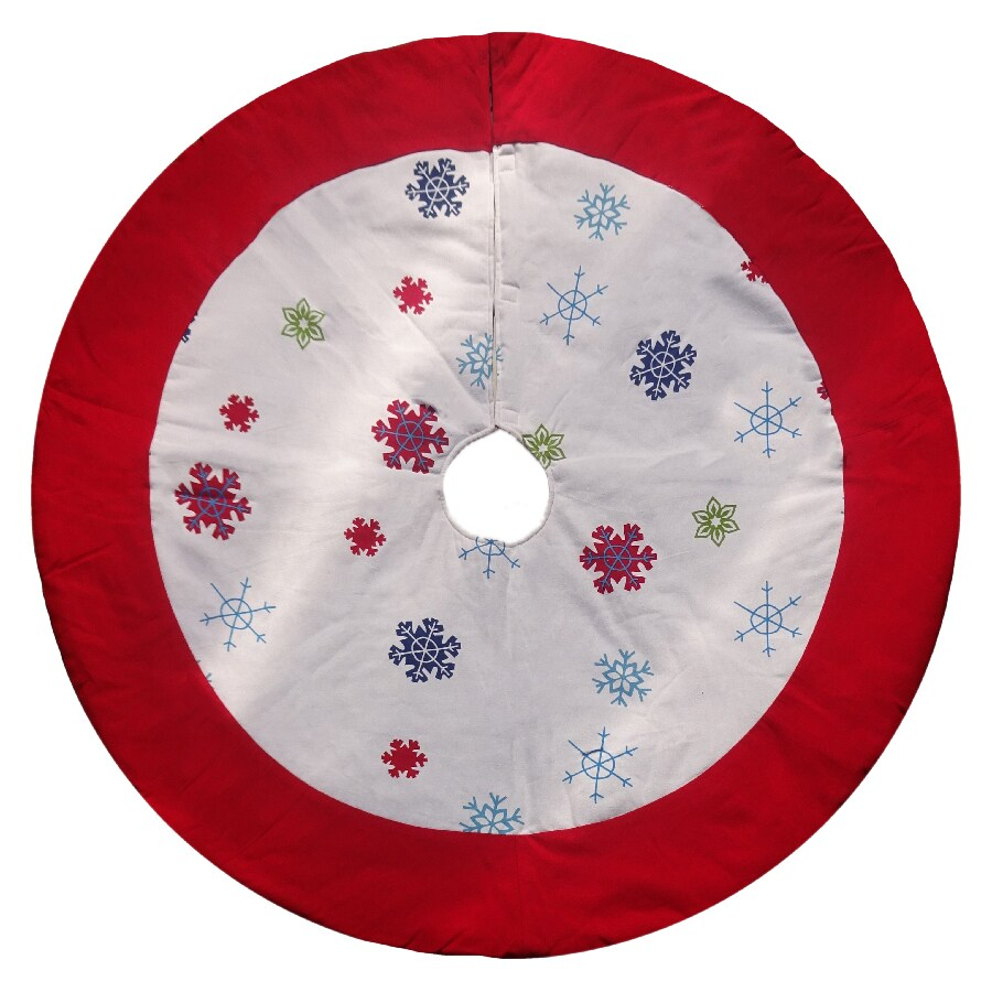 Holiday Living 48-in Cotton Snowflake Christmas Tree Skirt