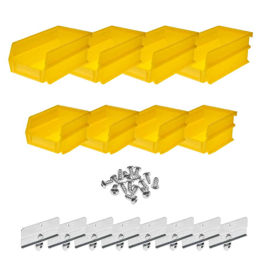 LocBin 8-Pack 8-in W x 8-in D Yellow Plastic Bins
