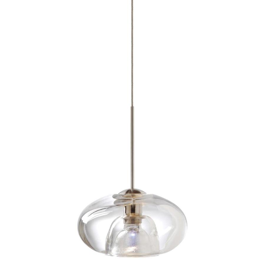 Stone 3-in Polished Nickel Mini Clear Glass Pendant