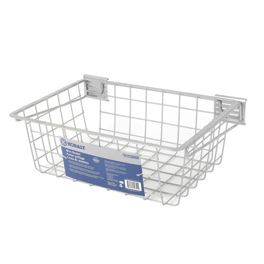 Kobalt 19.44-in W x 13-in H Gray Metal Garage Storage Basket