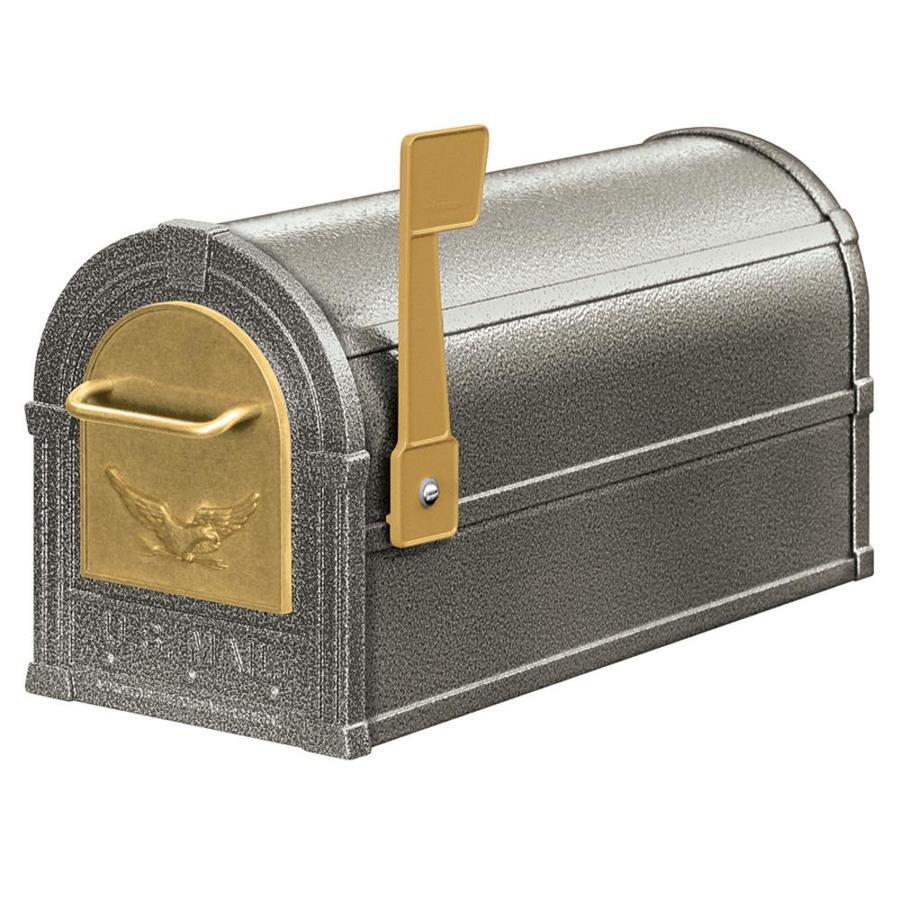 SALSBURY INDUSTRIES 4800 Series 7.5-in x 9.5-in Metal Pewter Post Mount Mailbox