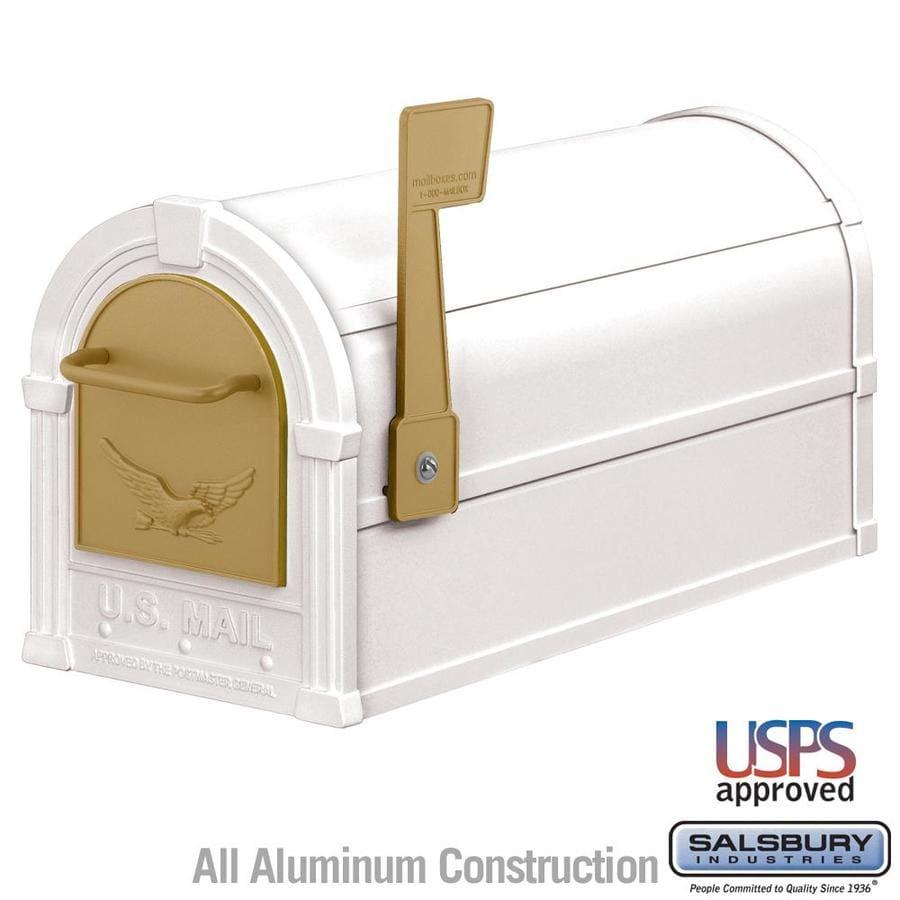 SALSBURY INDUSTRIES 4800 Series 7.5-in x 9.5-in Metal White Post Mount Mailbox