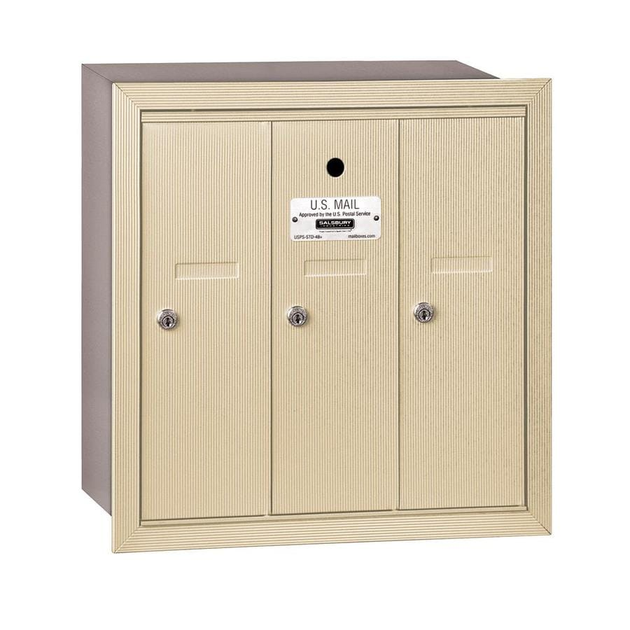 SALSBURY INDUSTRIES 3500 Series 18.75-in x 19-in Metal Sandstone Lockable Recessed Mount Cluster Mailbox