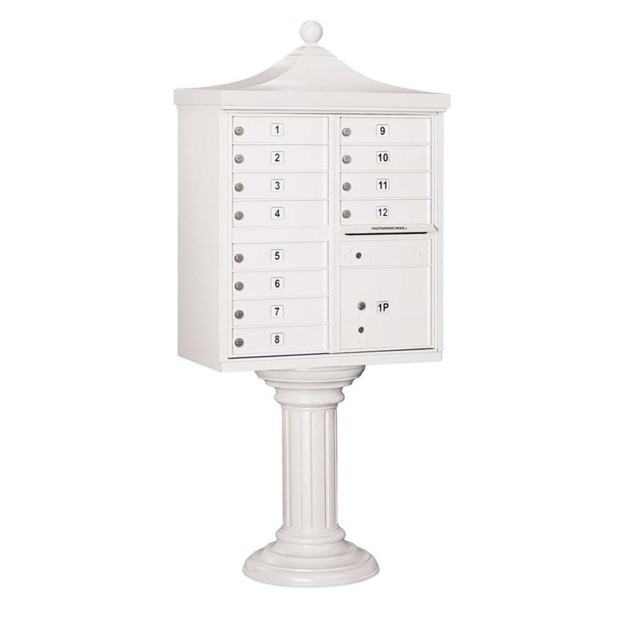 SALSBURY INDUSTRIES 3300 Series 31-in x 71.75-in Metal White Lockable Post Mount Cluster Mailbox