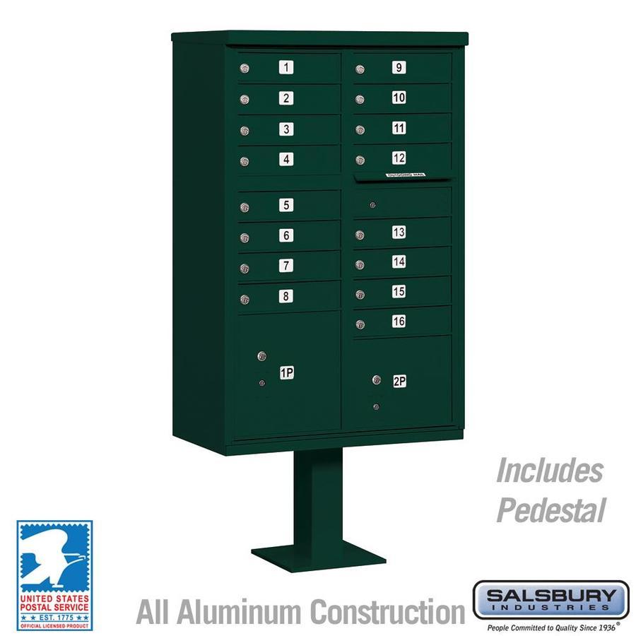 SALSBURY INDUSTRIES 3300 Series 30.5-in x 62.75-in Metal Green Lockable Post Mount Mailbox