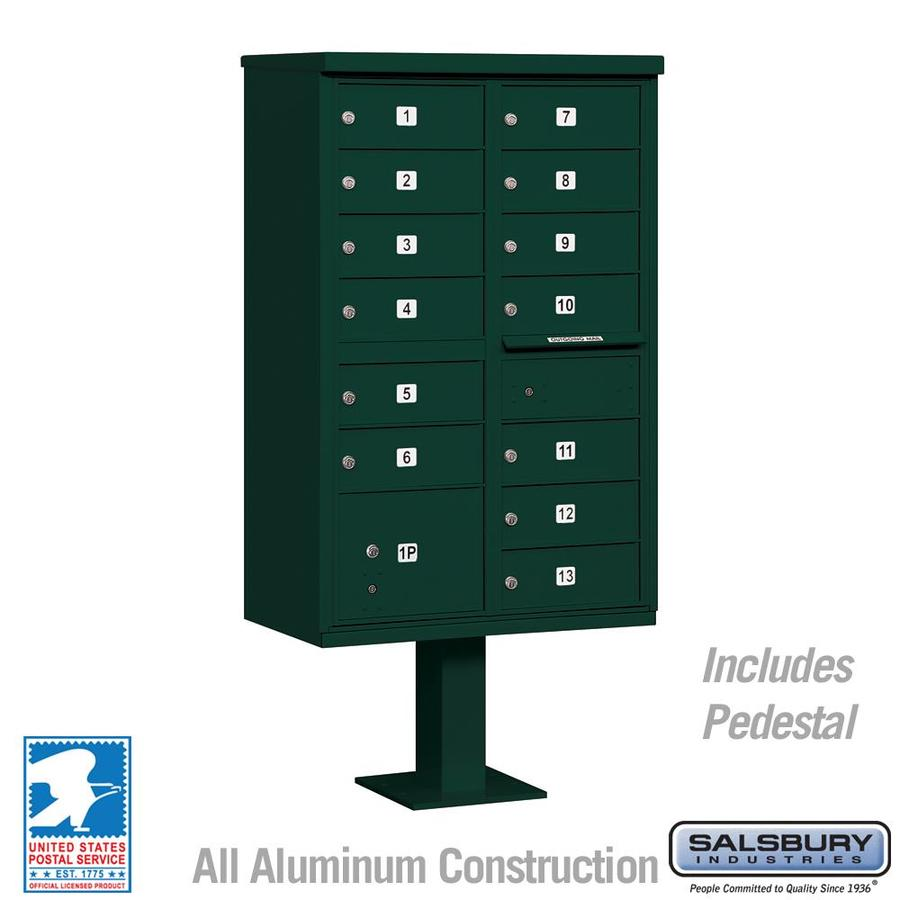 SALSBURY INDUSTRIES 3300 Series 30.5-in x 62.75-in Green Lockable Post Mount Mailbox