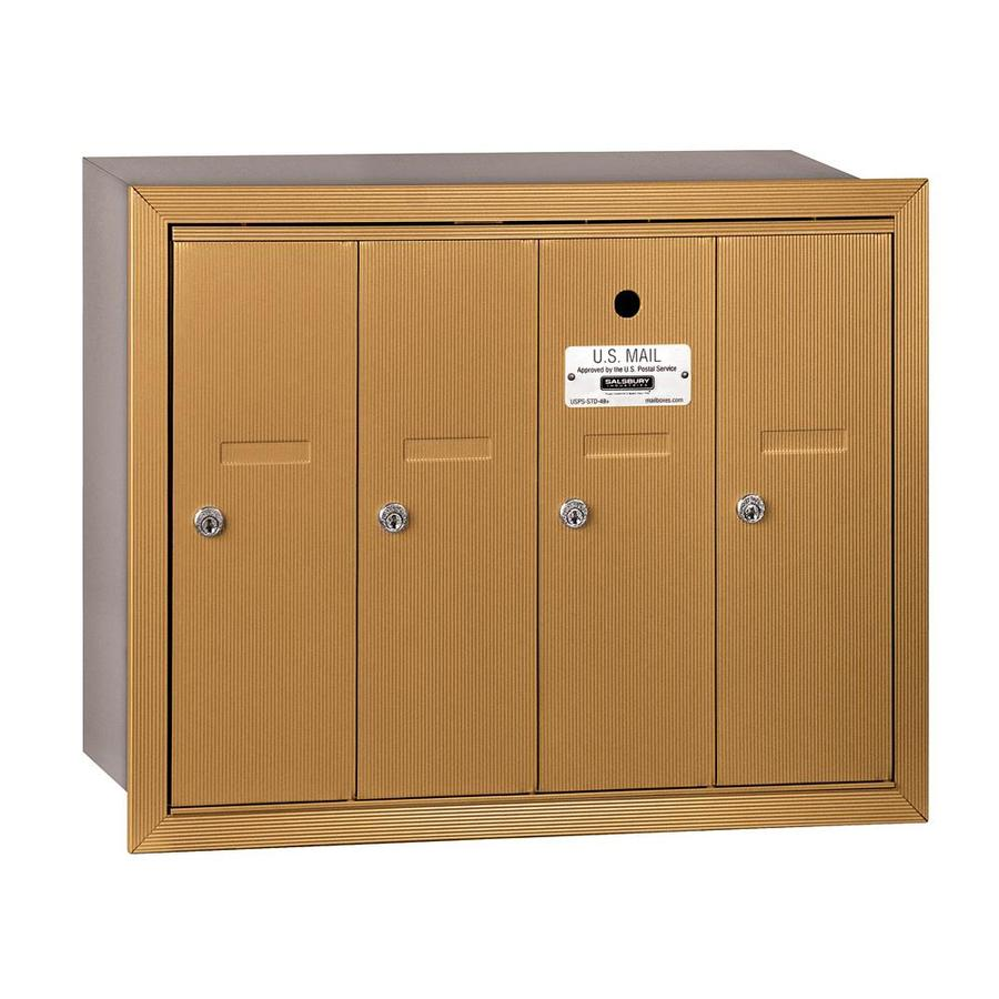 SALSBURY INDUSTRIES 3500 Series 24.25-in x 19-in Metal Brass Lockable Recessed Mount Cluster Mailbox