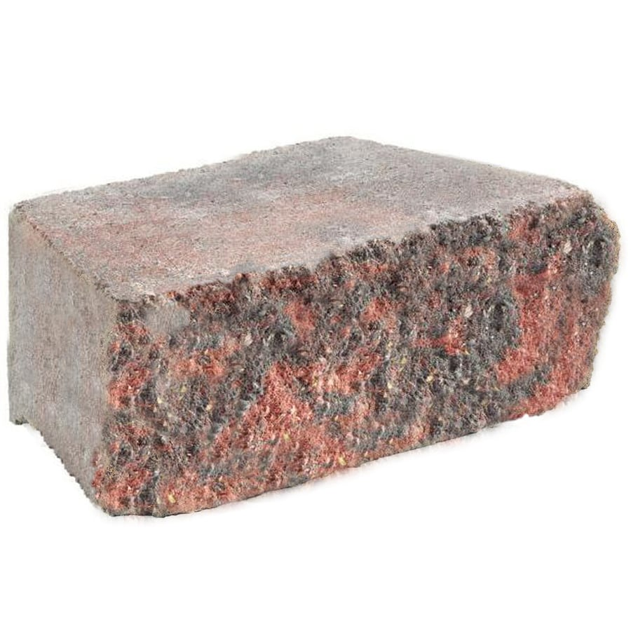 Red/Charcoal Straight Tumbled Concrete Retaining Wall Block (Common: 12-in x 4-in; Actual: 12-in x 4-in)