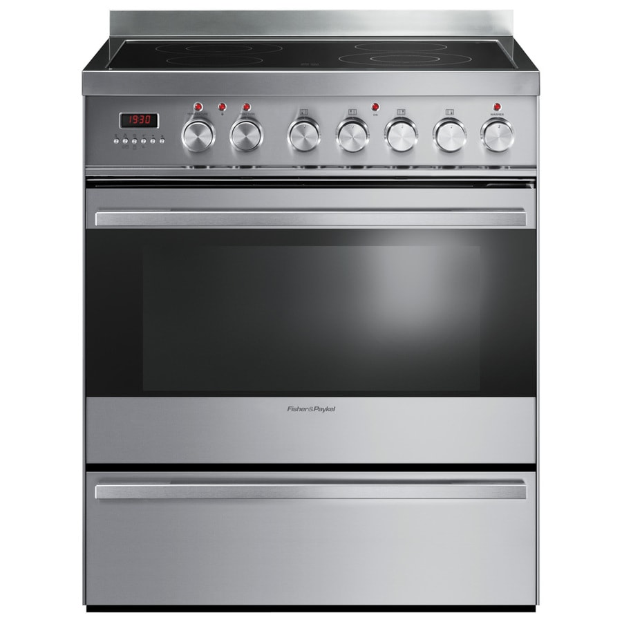 Fisher & Paykel Smooth Surface Freestanding 4 3.6-cu ft Self-Cleaning Convection Electric Range (Stainless Steel) (Common: 30-in; Actual: 29.87-in)