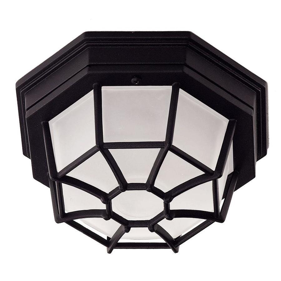 9-in W Black Outdoor Flush-Mount Light