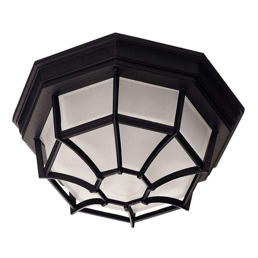 11-in W Black Outdoor Flush-Mount Light