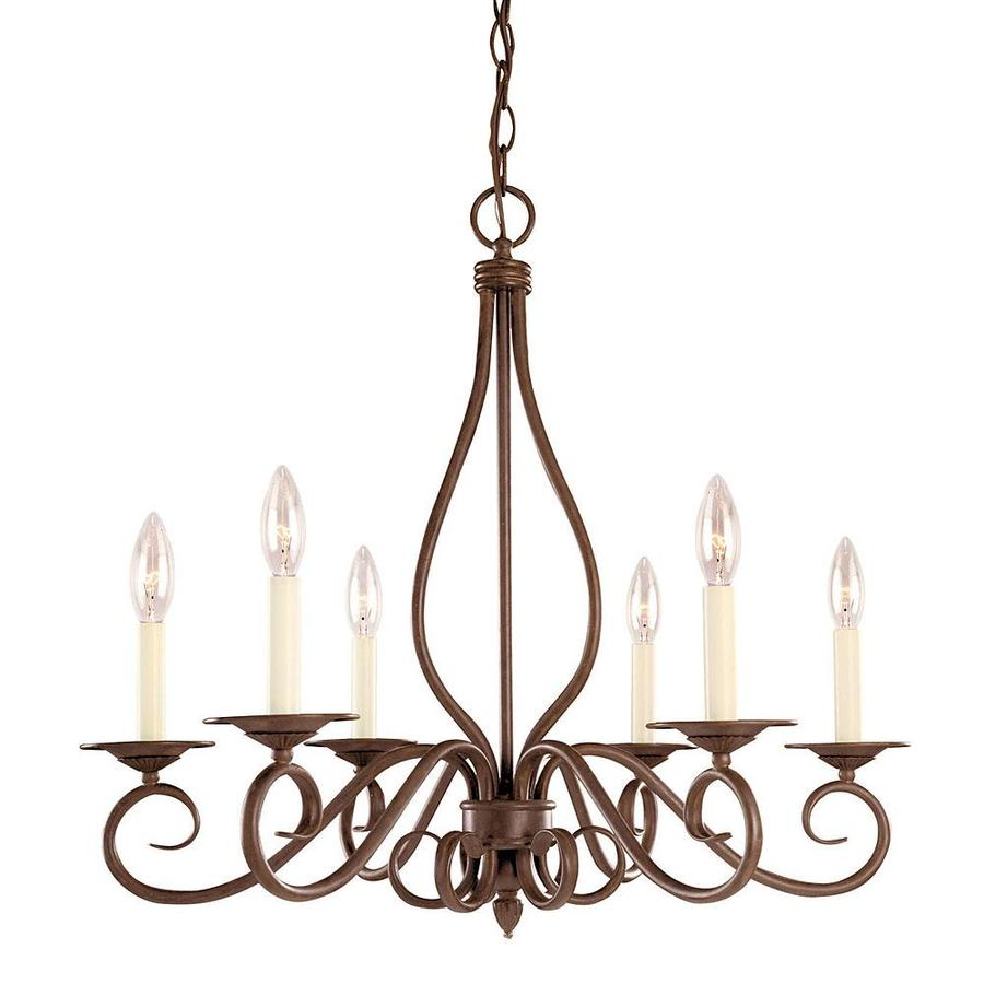 Shandy 25-in 6-Light Sunset Bronze Candle Chandelier