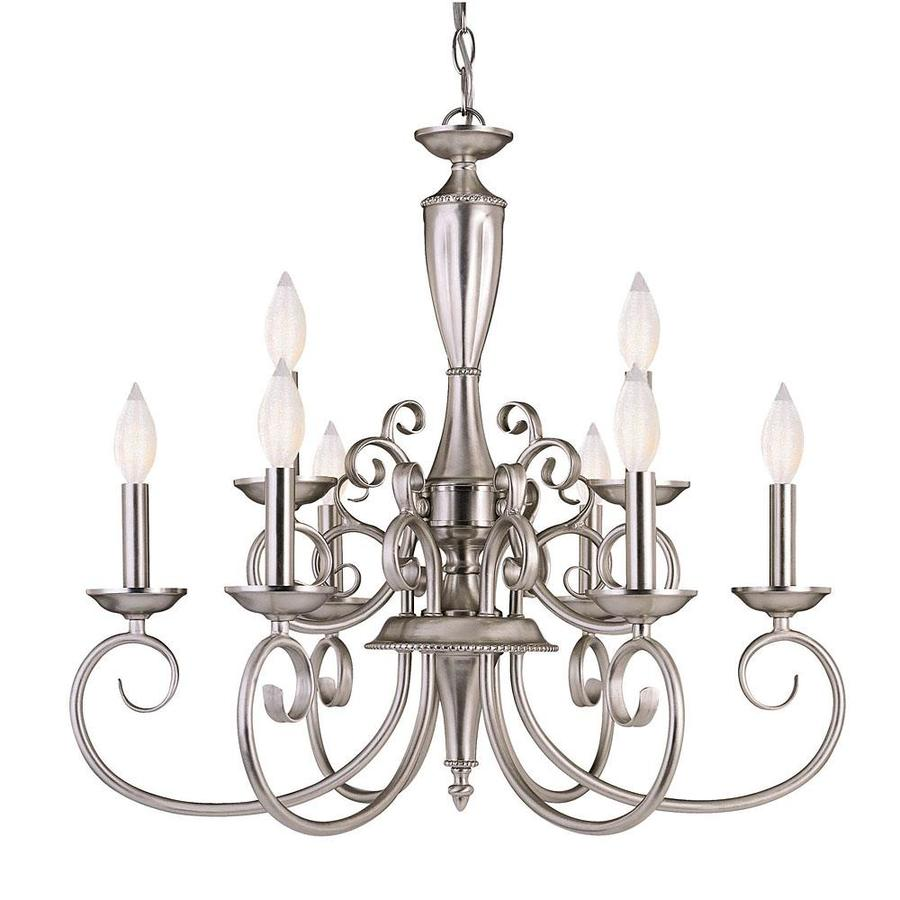 Shandy 23.75-in 9-Light Pewter Candle Chandelier