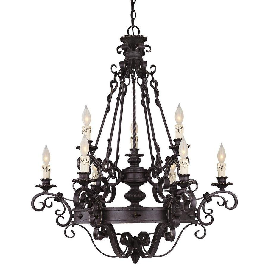 Shandy 33.25-in 9-Light Forged Black Candle Chandelier