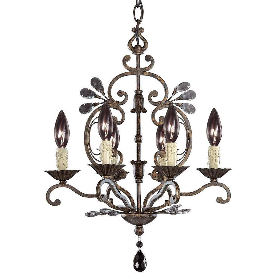 Shandy 12-in 6-Light New Tortoise Shell Candle Chandelier