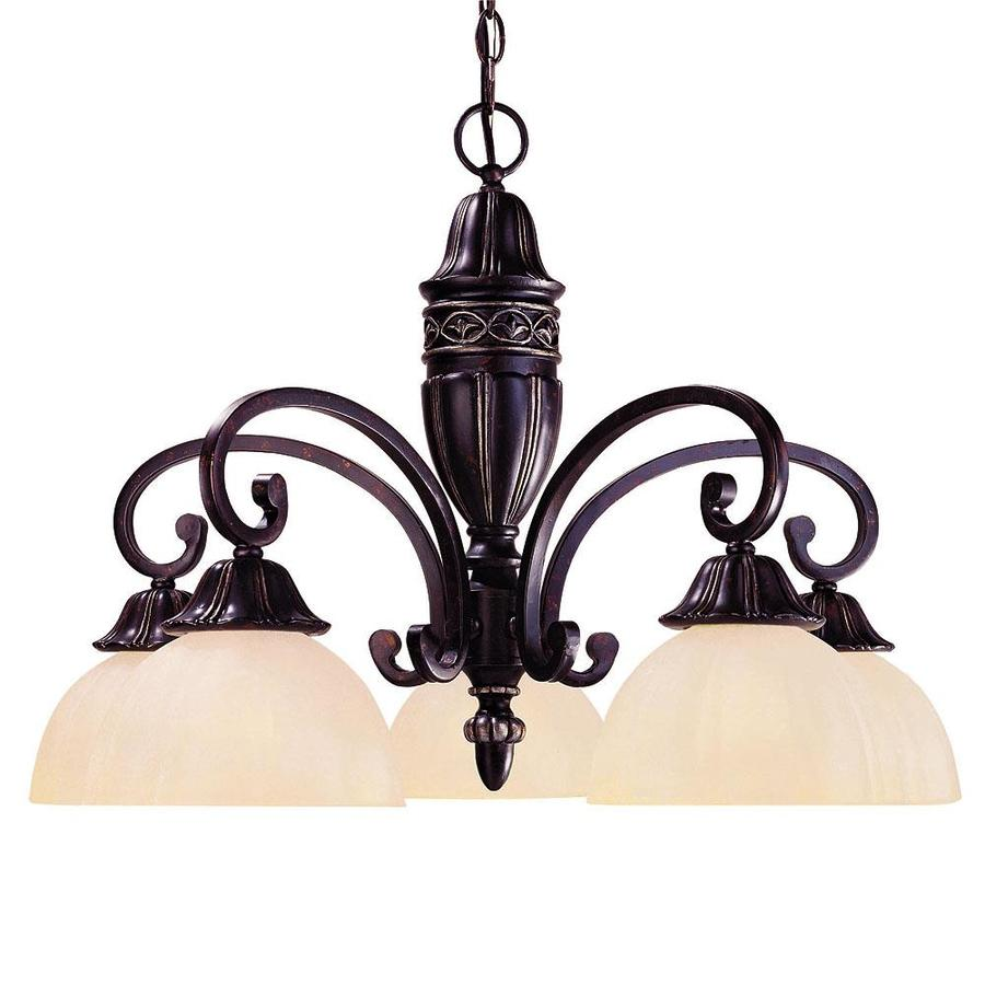 Shandy 27-in 5-Light Distressed Bronze Tinted Glass Candle Chandelier