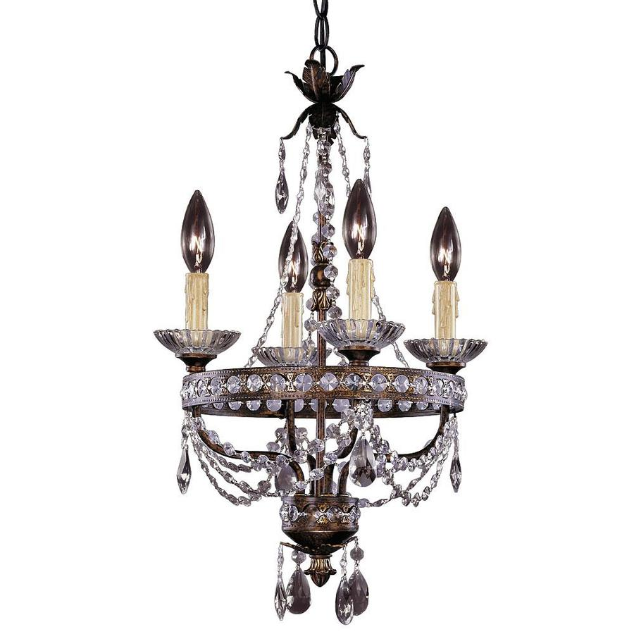 Shandy 14.37-in 4-Light New Tortoise Shell Clear Glass Candle Chandelier