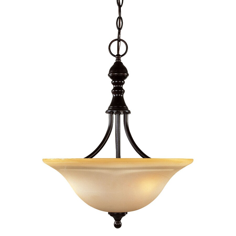 Shandy 16-in English Bronze Single Tinted Glass Pendant