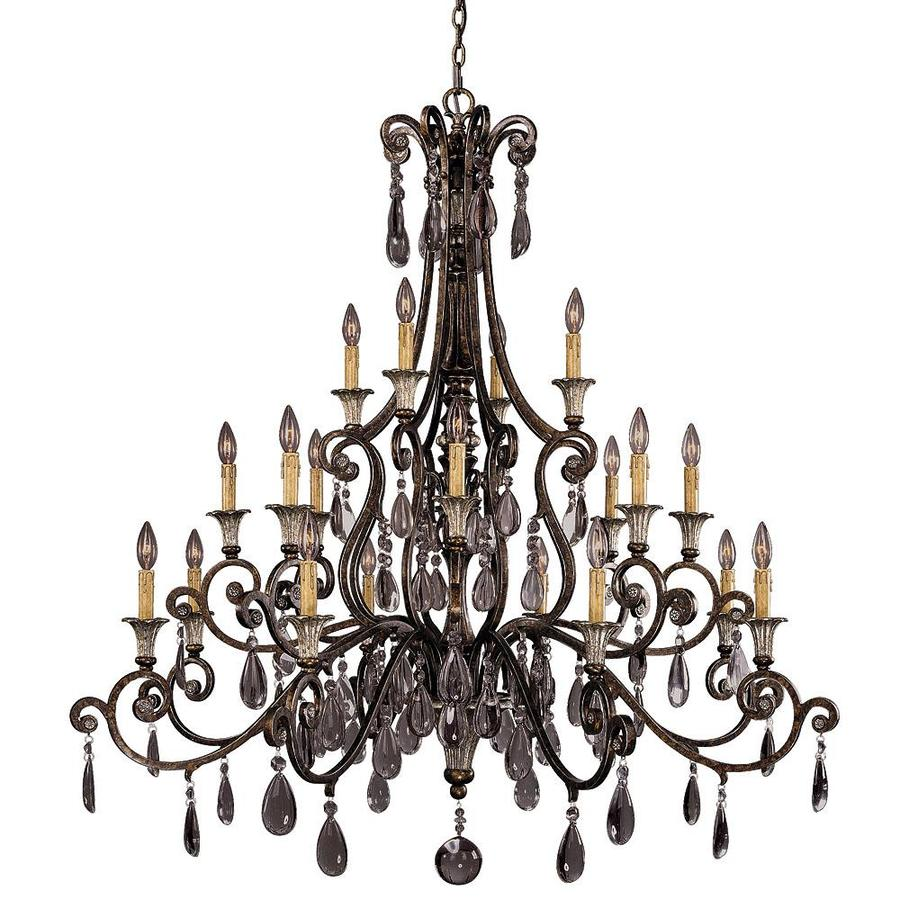 Shandy 52-in 20-Light New Tortoise Shell Clear Glass Candle Chandelier