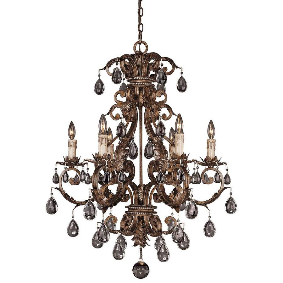 Shandy 29-in 6-Light New Tortoise Shell Clear Glass Candle Chandelier