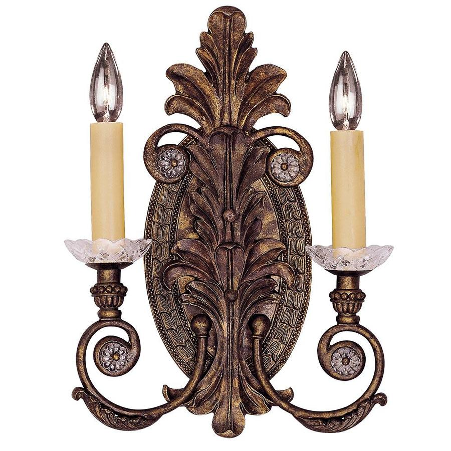 Shandy 12-in W 2-Light New Tortoise Shell Arm Wall Sconce