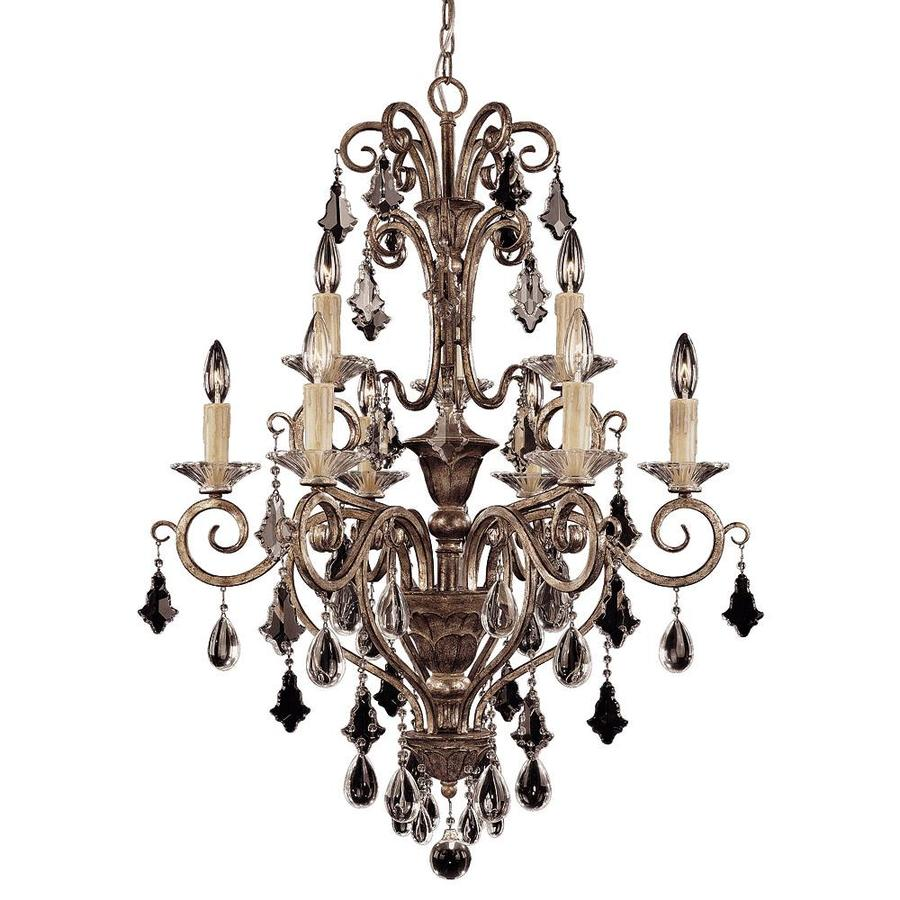 Shandy 28-in 9-Light New Mocha Clear Glass Candle Chandelier