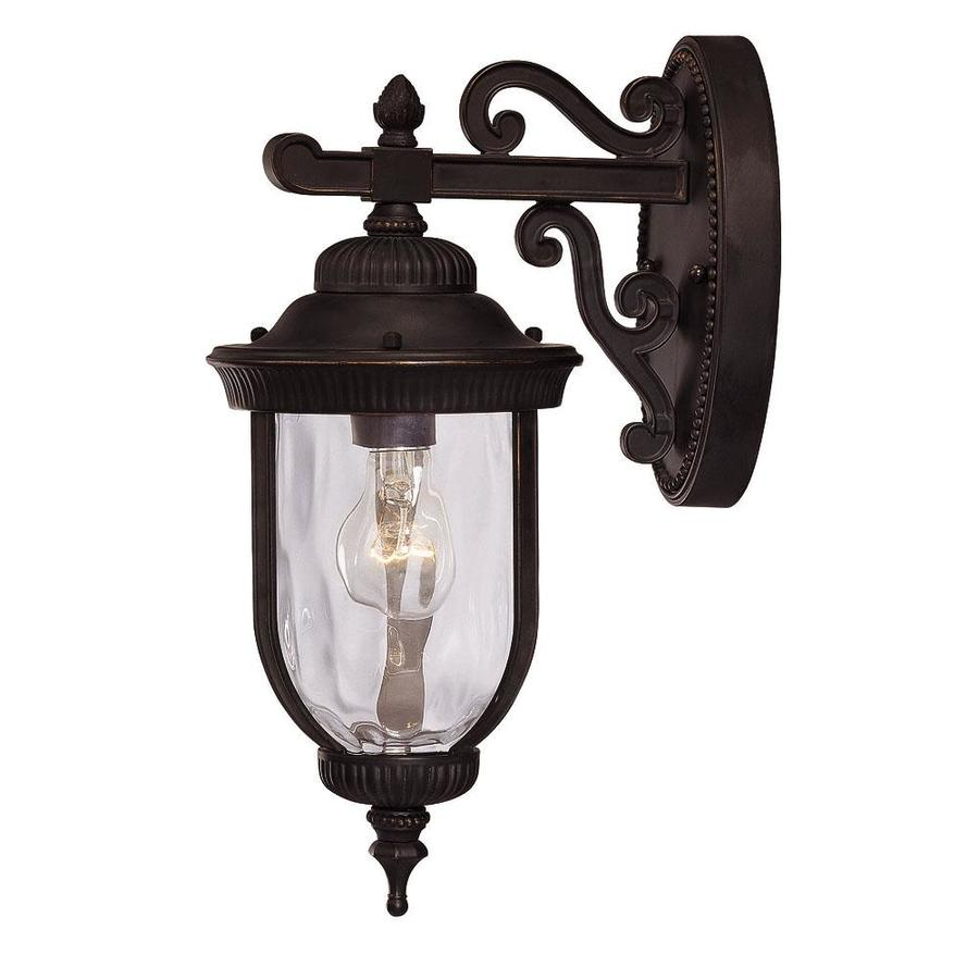 16-in H Black and Gold Outdoor Wall Light
