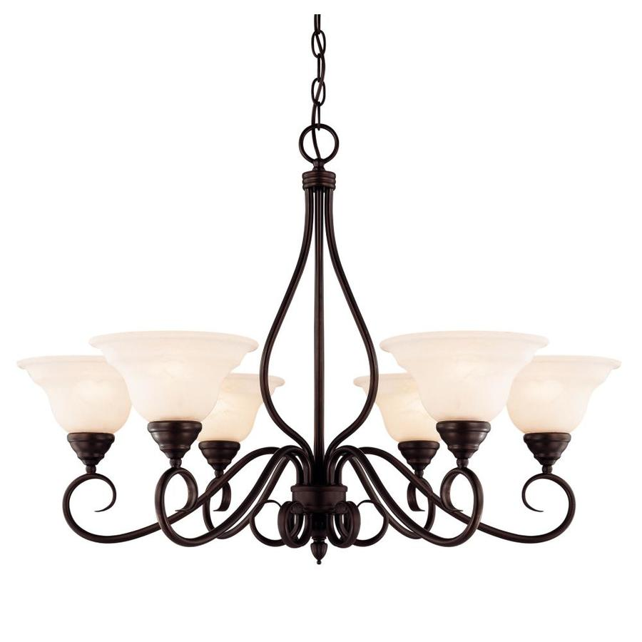 Shandy 32.75-in 6-Light English Bronze Candle Chandelier