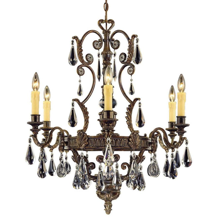 Shandy 29-in 6-Light Moroccan Bronze Clear Glass Candle Chandelier