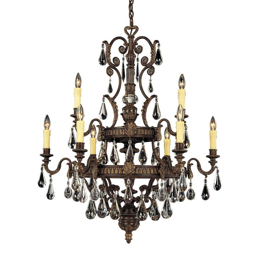 Shandy 35.5-in 9-Light Moroccan Bronze Clear Glass Candle Chandelier