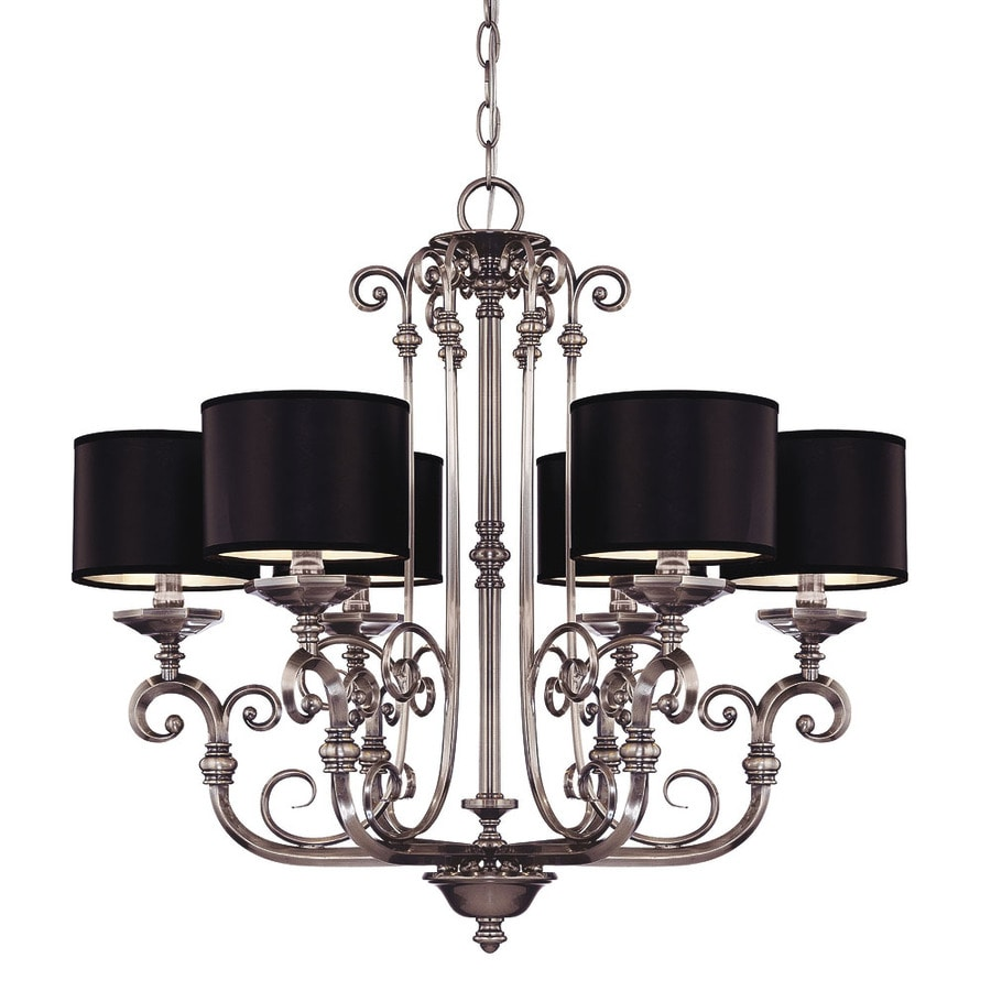 Shandy 26.75-in 6-Light Brushed Pewter Candle Chandelier