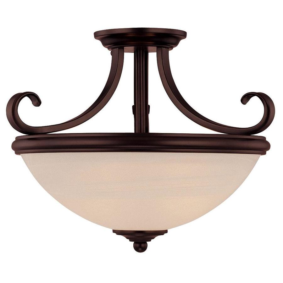 15.25-in W English Bronze Frosted Glass Semi-Flush Mount Light