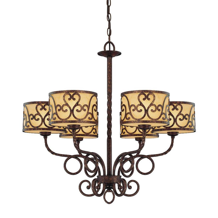 Shandy 28-in 6-Light New Tortoise Shell Candle Chandelier