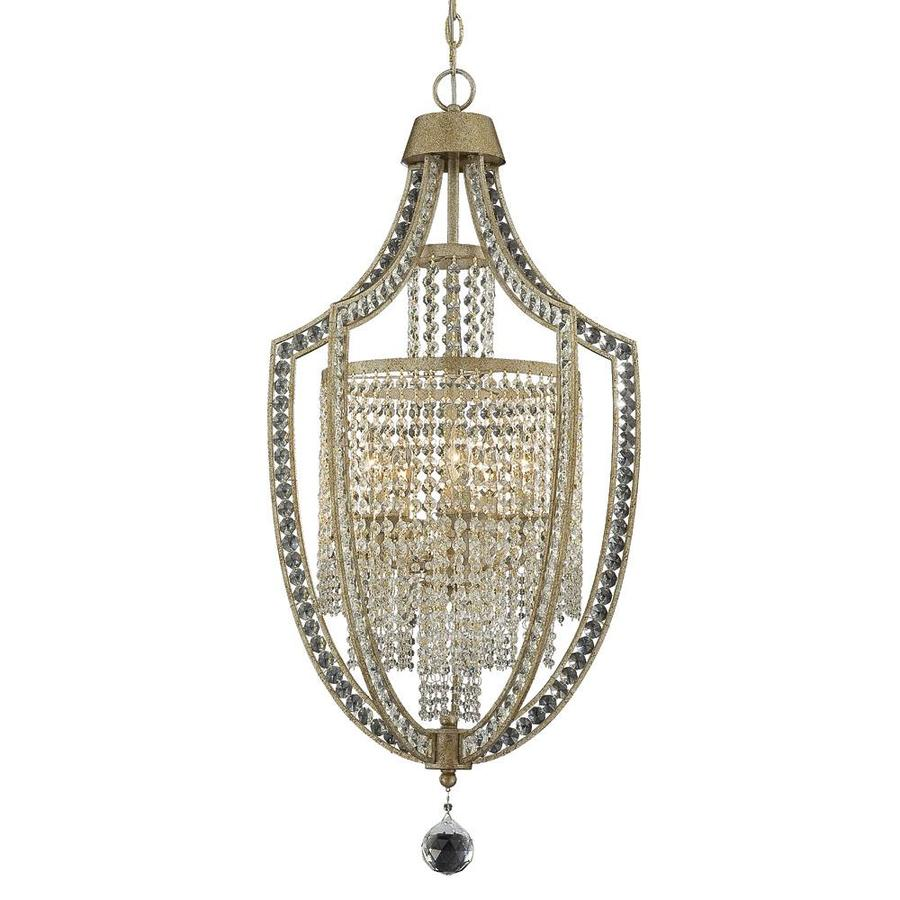 Shandy 18-in 5-Light Gold Dust Clear Glass Candle Chandelier