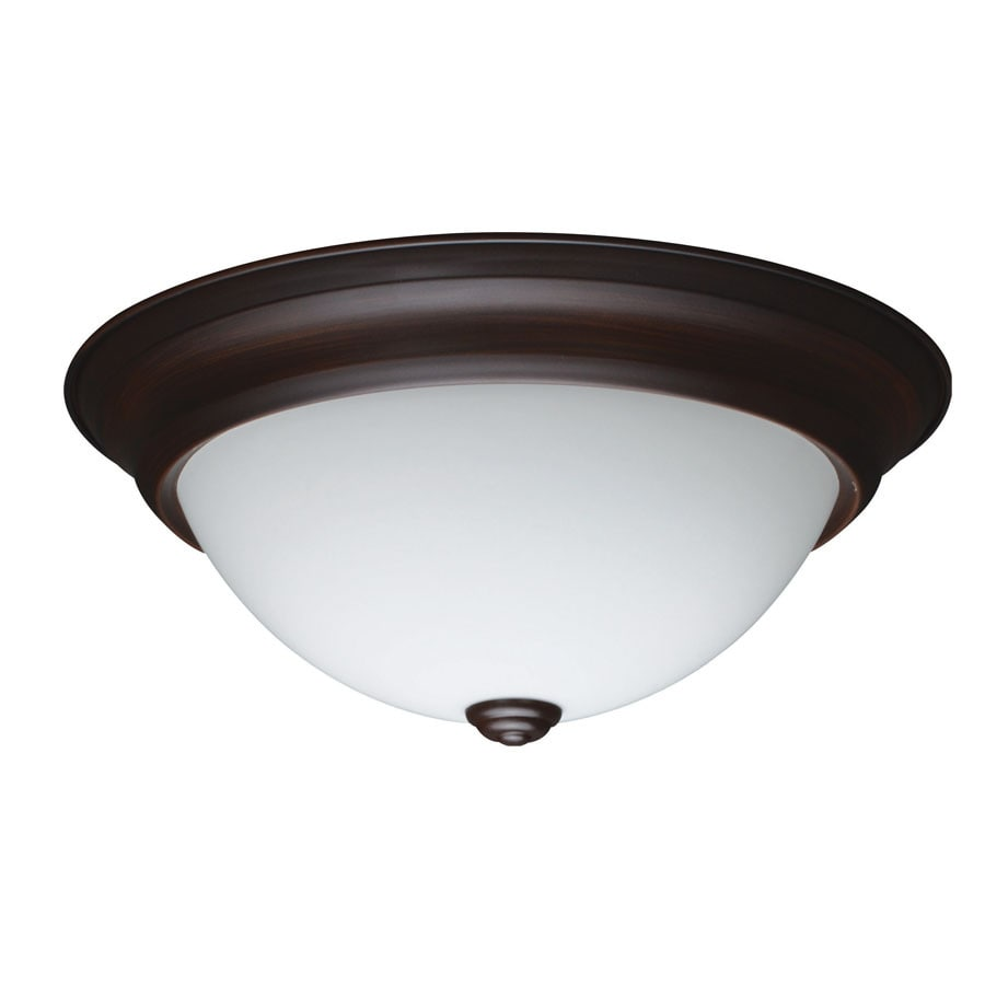 shop project source 13 in w bronze led flush mount light at. Black Bedroom Furniture Sets. Home Design Ideas