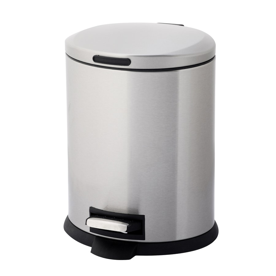 Style Selections 5-Liter Stainless Steel Oval Steel Trash Can with Lid