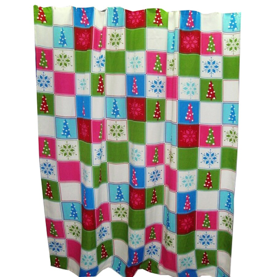 Style Selections Polyester Christmas Pattern Shower Curtain