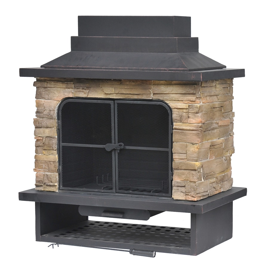 Shop garden treasures brown steel outdoor wood burning for Wood burning fireplace construction