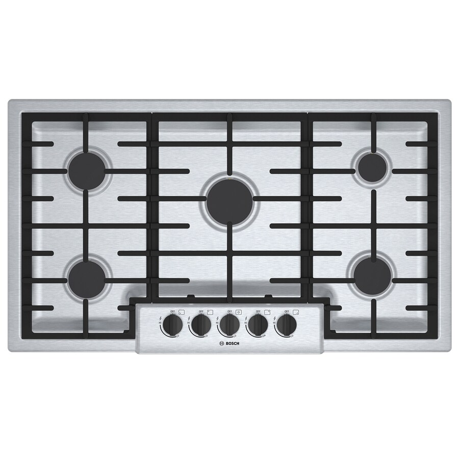 shop bosch 500 series 5 burner gas cooktop stainless steel common 36 in actual 37 in at. Black Bedroom Furniture Sets. Home Design Ideas