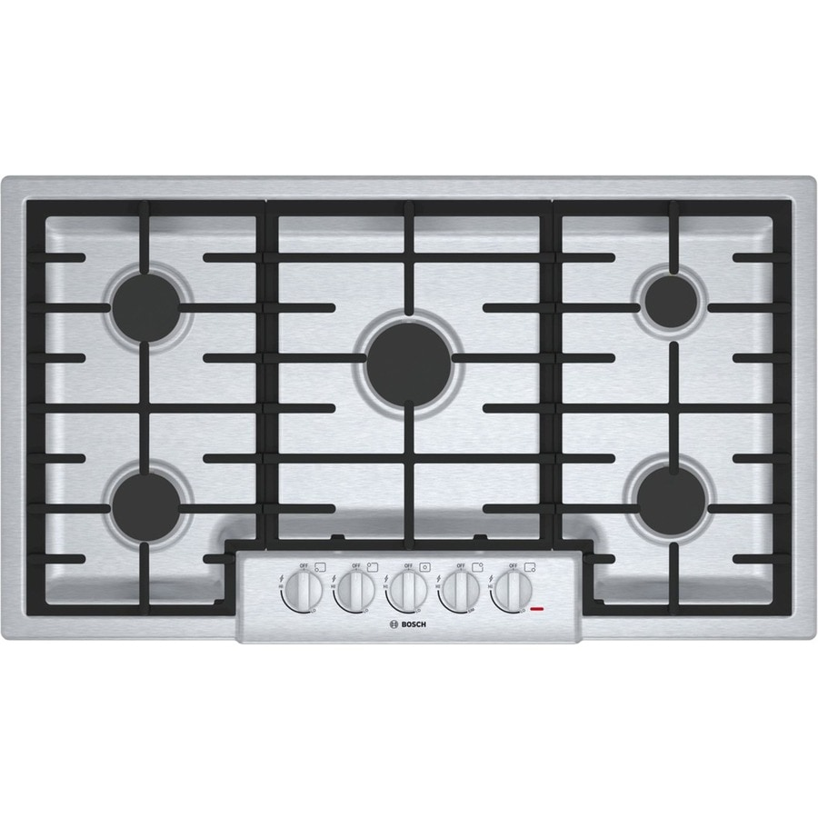 shop bosch 800 series 5 burner gas cooktop stainless steel common 36 in actual 37 in at. Black Bedroom Furniture Sets. Home Design Ideas