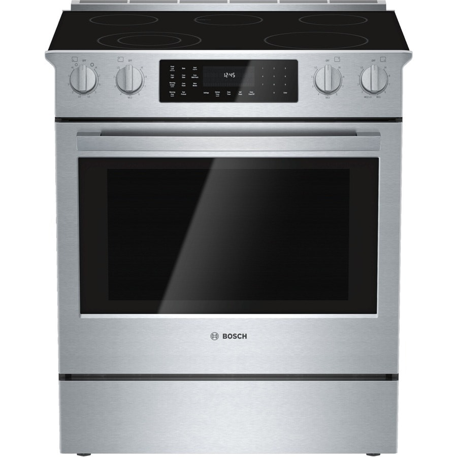 Bosch 800 Series Smooth Surface 5-Element Self-Cleaning Slide-in Convection Electric Range (Stainless Steel) (Common: 30-in; Actual 31.5-in)