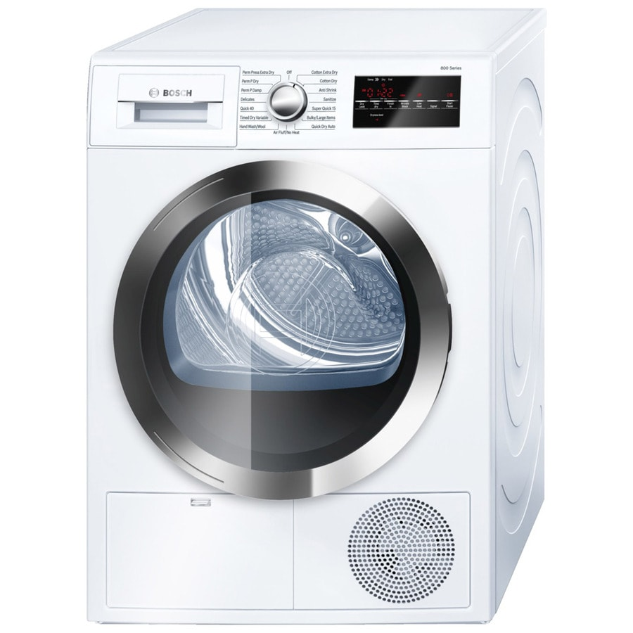 shop bosch 800 series 4 cu ft stackable electric dryer white chrome energy star at. Black Bedroom Furniture Sets. Home Design Ideas