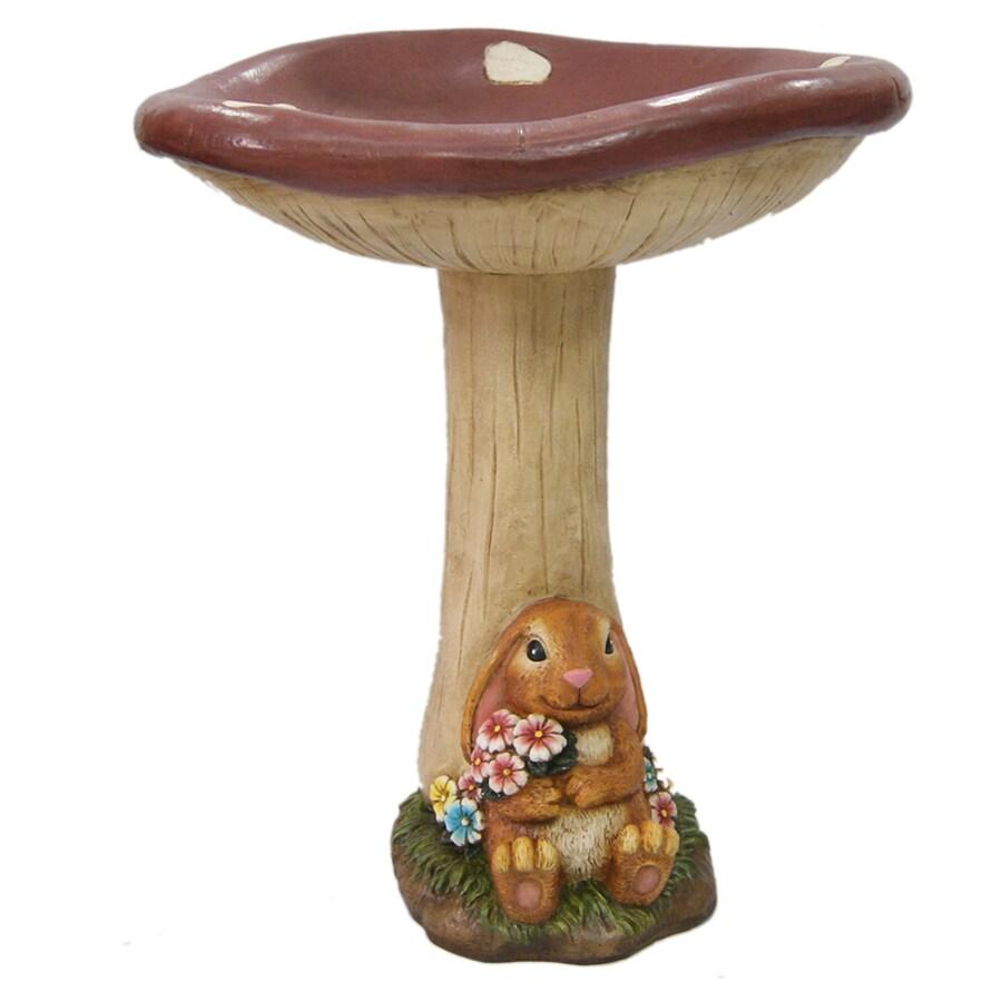 Mushroom and Bunny 1-Tier Birdbath