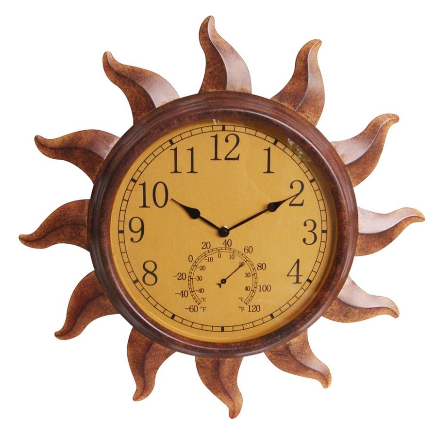 Garden Treasures Indoor/Outdoor Rustic Sun Thermometer with Clock