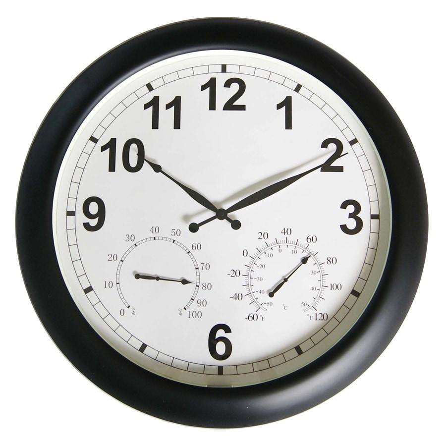 Garden Treasures Indoor/Outdoor Plastic Black Modern Thermometer with Clock