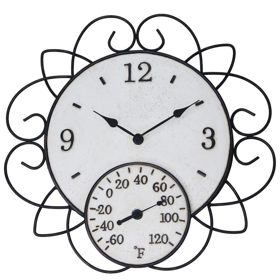 Garden Treasures Indoor/Outdoor Ivory and Rusty Steel Modern Thermometer with Clock